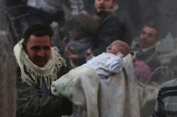Baby recovered from rubble as Syrian tyrant Bashar Assad bombs his own people