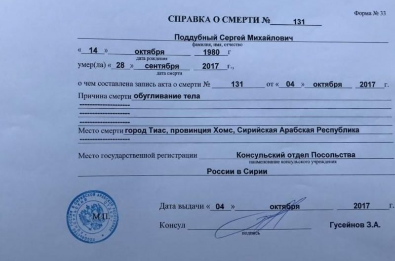 Death certificate offers clues on Russian casualties in Syria