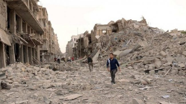Whole town and cities lay in ruins in Syria